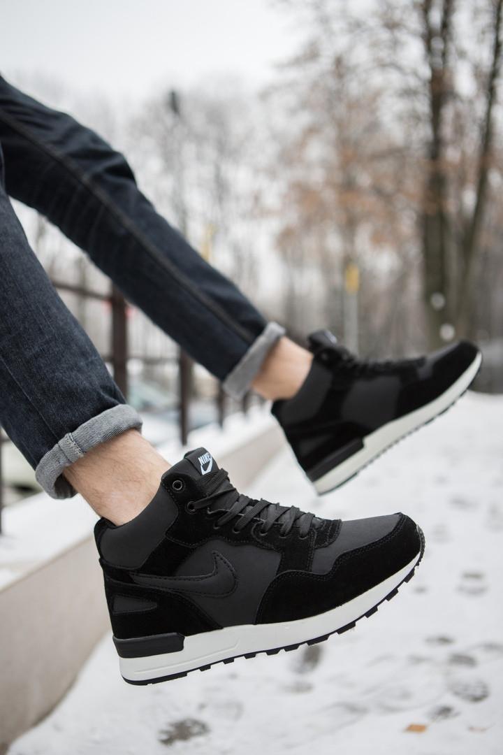 Кроссовки на меху мужские Nike Мид Хай черные с белой подошвой топ реплика