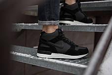 Кроссовки на меху мужские Nike Мид Хай черные с белой подошвой топ реплика, фото 3
