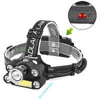 Фонарь на лоб Police BL-T66-T6+4XPE+COB, signal light, 2x18650, ЗУ 220V/12V, zoom, комплект