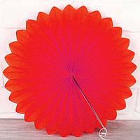 Веер гармошка из папирусной бумаги красный для декора  диаметр 30 см