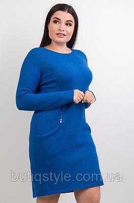Женское теплое платье с аппликацией из пуговичек