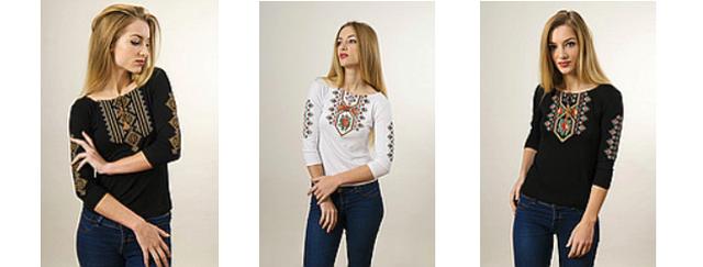 Жіночі вишиті футболки на 3/4 рукав
