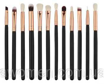 Набор кистей для макияжа черные (12 штук)
