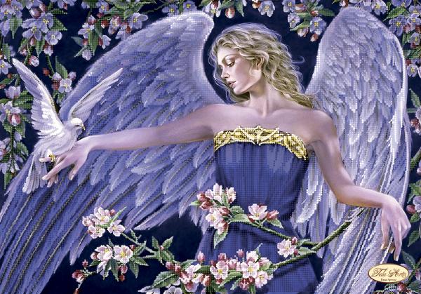 """Схема для вышивки бисером 43х30см """"Ангел и голубь"""" Тэла Артис"""