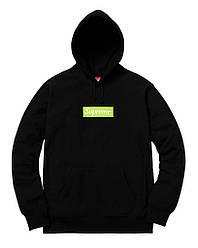 Черный худи свитшот Supreme box logo Реплика 1:1