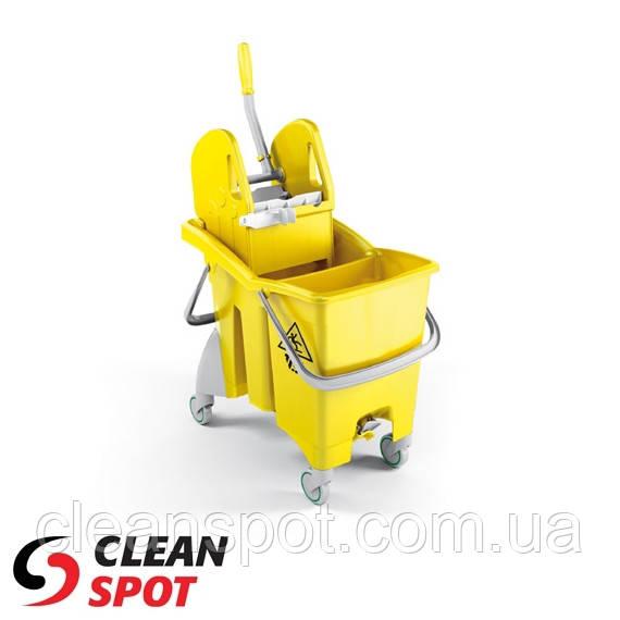 Ведро для влажной уборки с отжимом TTS Action Pro 30л. желтое