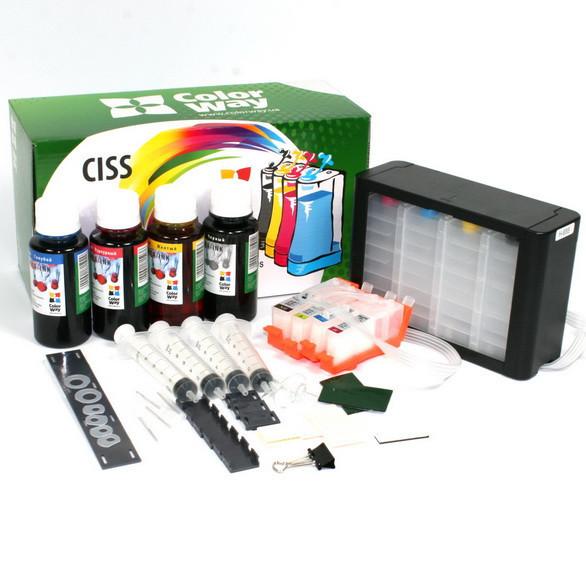 СНПЧ ColorWay HP 655, с чипами, с демпфером, 4х100 г чернил (H655CC-4.1P)