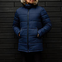 Мужская черная зимняя куртка Jacket winter (dark blue), синяя мужская зимняя куртка, длинная мужская куртка, фото 1