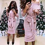 Женский теплый костюм с люрексом: свитер с поясом и юбка (6 цветов), фото 4