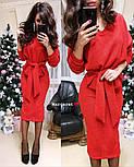 Женский теплый костюм с люрексом: свитер с поясом и юбка (6 цветов), фото 7
