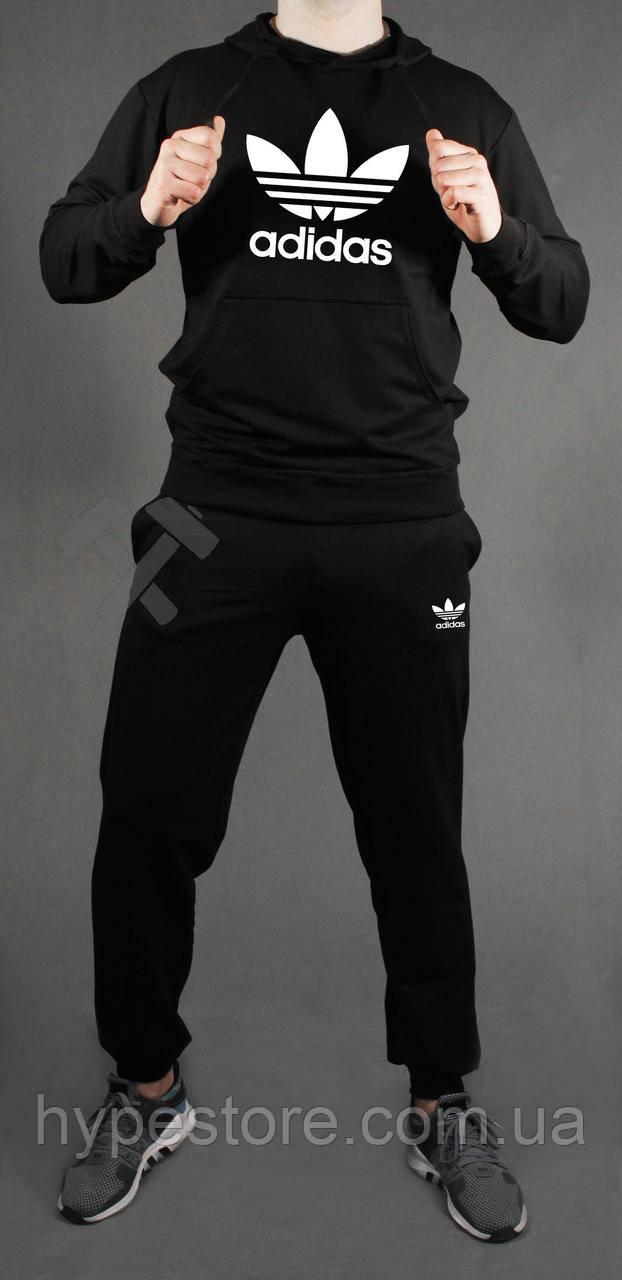 Зимний черный спортивный мужской костюм с капюшоном, костюм на флисе Adidas Originals, Реплика