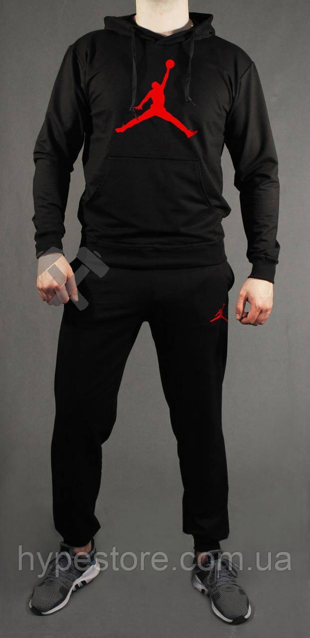 Зимний черный спортивный мужской костюм с капюшоном, костюм на флисе Air  Jordan, Реплика fa2d951142b