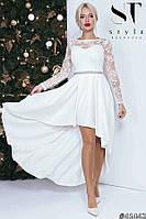 Изумительное платье с асимметричным подолом и гипюром , фото 1