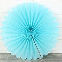 Веер гармошка голубой из папирусной бумаги для декора диаметр 30 см