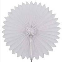 Віяло гармошка з папірусного паперу для декору білий діаметр 30 см