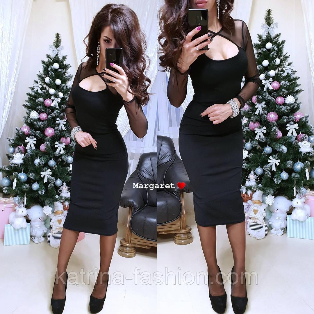 Женское черное платье-миди с сеткой