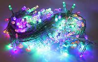 Гирлянда электрическая нить разноцветная на 200 led, прозрачный шнур длиной 10метров