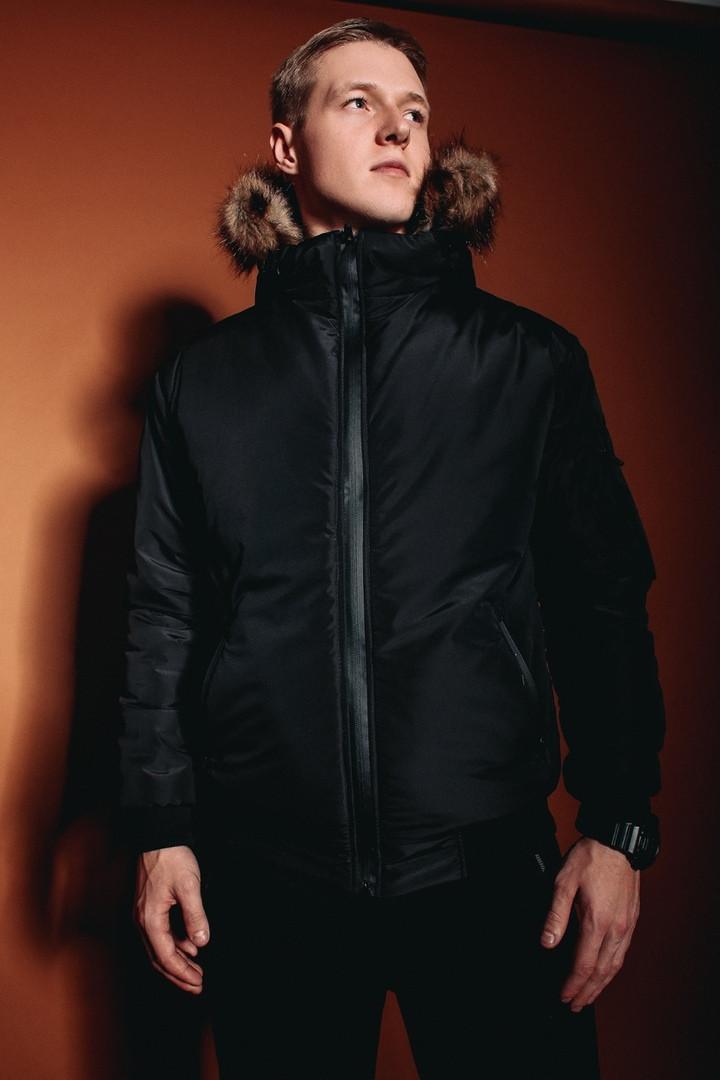 Мужская черная зимняя куртка Jacket winter (black), черная мужская зимняя куртка, длинная мужская куртка