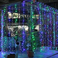 Світлодіодна гірлянда штора Curtain 3х3 метра, 600 LED, колір RGB, фото 1