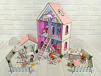 Кукольный Домик для кукол (ляльковий будинок) + обои + шторки + мебель + текстиль + лестница + дворик