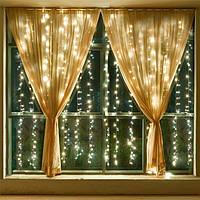Світлодіодна гірлянда Шторка 144 LED - 1,5x1,2 м кольору білий, синій, жовтий, мульти, фото 1
