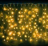 Светодиодная гирлянда штора 3х2 м белый ПВХ провод, цвета: белый, синий, желтый, мульти, фото 1