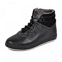 Зимние ботинки из натуральной кожи на овчине подростковые , Maxus shoes