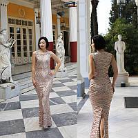 Вечернее платье Сияющее в пайетках . Цвет персик, пайетки.L( 48)