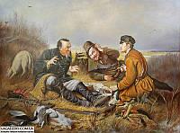 Картина маслом Охотники на привале. Копия Перова.