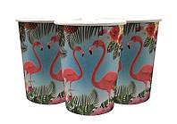 Стаканы, праздничные. Стаканы Фламинго, одноразовые стаканы. Одноразовая посуда.