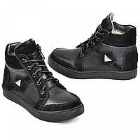 Зимние ботинки из натуральной кожи на овчине подростковые для мальчика Maxus Shoes