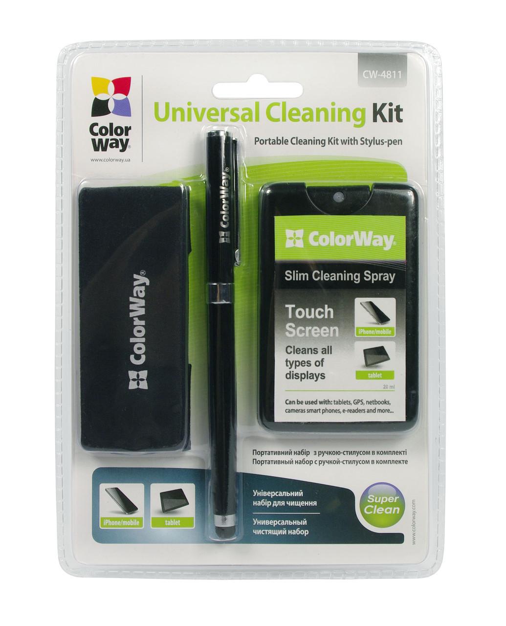 Набор чистящий ColorWay, для ноутбуков, планшетов, смартфонов: Гель для очистки 20 мл, салфетка микрофибра, универсальная ручка-стилус(CW-4811) - для