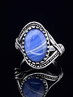 029375 Кольцо Голубой агат