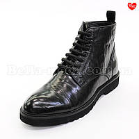 Мужские стильные ботинки тиснёная кожа