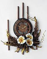 Вертикальное панно с ажурными часами из натуральной кожи и бамбука. , фото 1