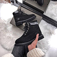 Женские зимние ботинки в стиле Timberland Black Premium на меху (Натуральная нубук, натуральный мех)