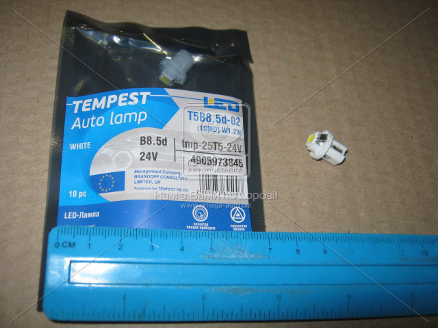 Лампа LED панель приборов, подсветкa кнопок T5B8,5d-02 (1SMD) W1.2W B8.5d белая 24V  tmp-25T5-24V