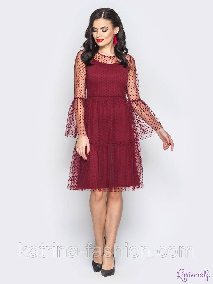 Женское коктейльное платье в горошек (4 цвета)