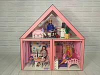Кукольный Домик для кукол ляльковий будинок «Особняк Барби» 3 комнаты/ 2 этажа+ обои+ шторки+ мебель+ текстиль