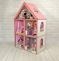 Кукольный Домик для кукол «Большой Особняк Барби» 5 комнат/ 3 этажа + обои + шторки + мебель + текстиль