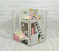 Кукольный Домик для кукол (ляльковий будинок) ROOMBOX №2 Пентхаус + мебель + обои + шторки + текстиль