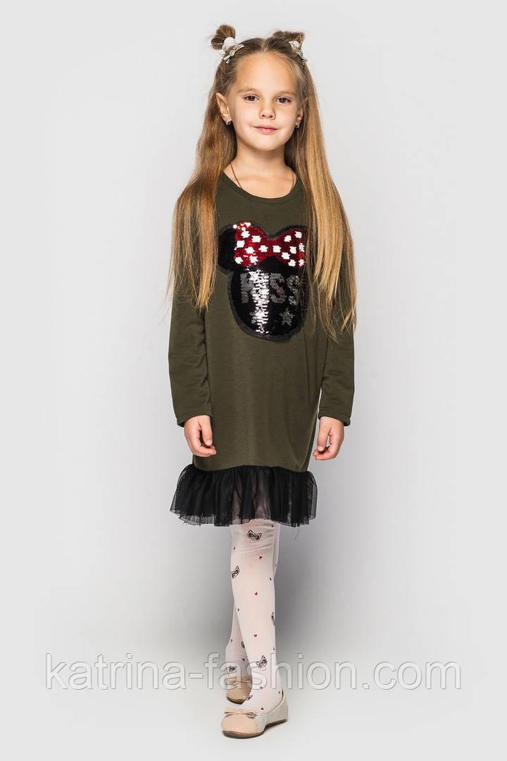 Детское платье с оборками из фатина (расцветки и варинты нашивок)