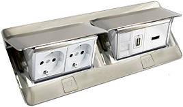 Люк для розеток в стол или пол, 8 модулей, нержавеющая сталь, 54023 Legrand