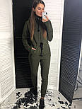 Женский теплый комбинезон на флисе с капюшоном (в расцветках), фото 3