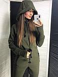 Женский теплый комбинезон на флисе с капюшоном (в расцветках), фото 4