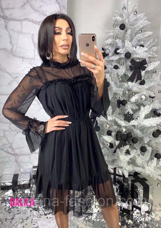 Женское красивое платье с сеткой (3 цвета)