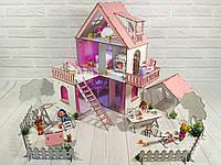 Кукольный Домик для кукол (ляльковий будинок) «Солнечная Дача» + обои + шторки + мебель + текстиль + дворик