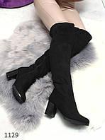Женские ботфорты, зимние, эко замша, внутри мех, на каблуке 7,5 см, черные, 2018
