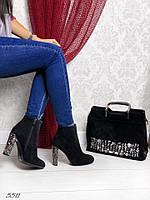Женские ботинки, демисезонные, эко замша, на каблуке 10 см, черные, 2018 39