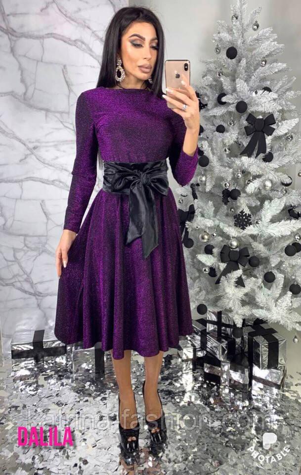 Женское платье из люрекса с поясом (3 цвета)